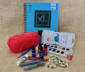 Creative, Creativity, Sketch Book, Yarn, Crochet Hook, Watercolors, Pastels, Glue Stick, Jwelery