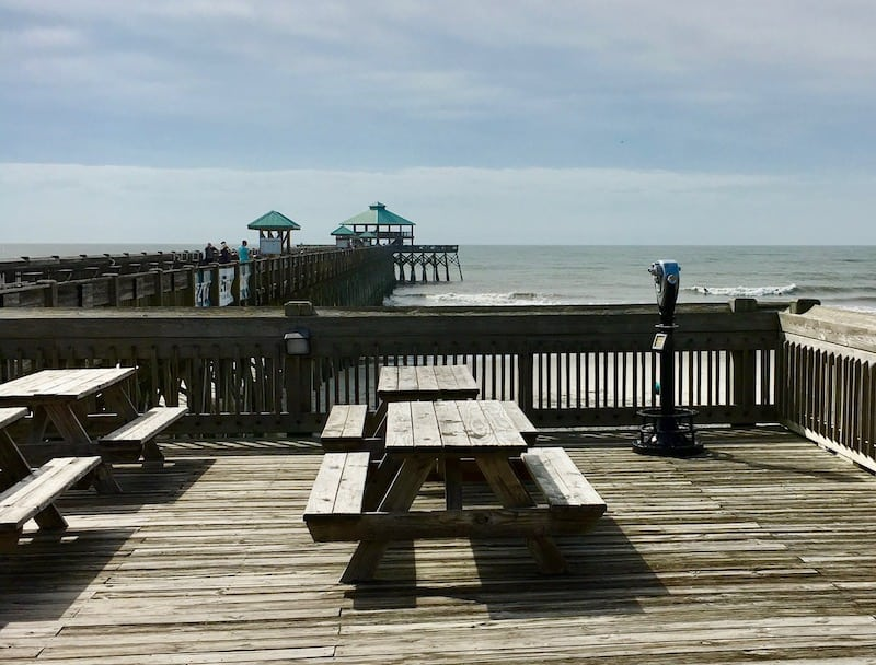 Folly Pier, Beach, Folly Beach, Picnic Table, Pier