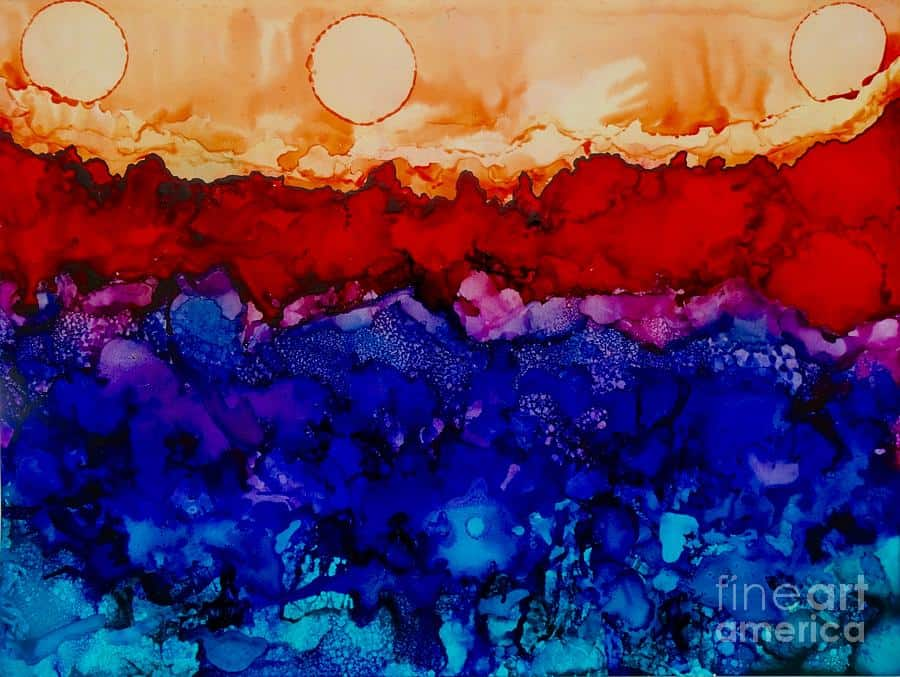 Artwork - Water On Mars - Alcohol Ink Painting